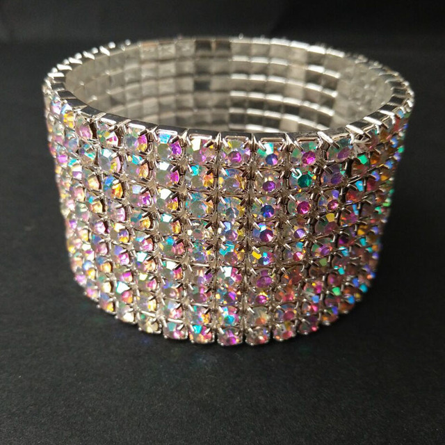 2017 Direct Selling Real Link Chain Round Trendy Women 9 Row Bling Rhinestone Stretch Bangle Bracelet Wedding Bridal Wristband