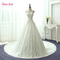 Taoo Zor Luxury Emproidery Lace Princess A Line Wedding Dresses 2017 Amazing Beading Crystal Sparkling Robe