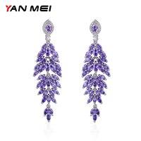 YAN MEI Club Factory Clear 4 Colors Cubic Zirconia Flower Shape Long Earrings GLE7156Y