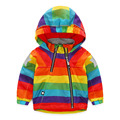 LittleSpring Kids Rainbow Jacket Fashion Zipper Autumn Raincoat Children Hooded Waterproof Outerwear Boys Girls Bomber Jackets