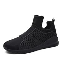 Men's Breathable Running Shoes men Antiskid Jogging Walking Shoes men Slip On Lightweight Outdoor Sport Shoes For Male Black Red