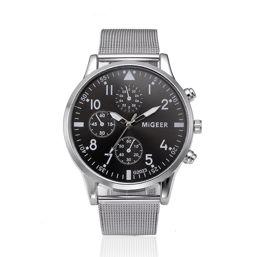 MIGEER Womens Net with Watch #g2023 Fashion Arabic Digital Three Eyes Black Stainless Steel Dial Quartz Business Wrist Watch a7MIGEER Womens Net with Watch #g2023 Fashion Arabic Digital Three Eyes Black Stainless Steel Dial Quartz Business Wrist Watch a7
