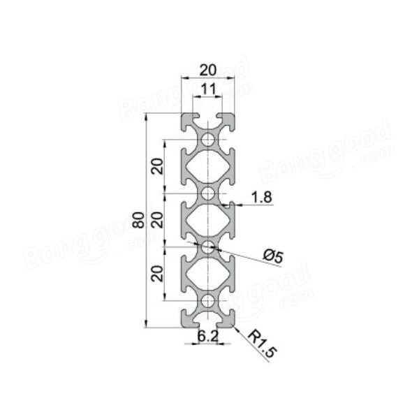 200/300/400mm Length 2080 T-Slot Aluminum Profiles Extrusion Frame For CNC