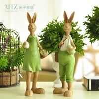 Miz Home Pantanal Family Set Creative Rabbit Resin Home Decor Gift For Friend Garden Home Decoration
