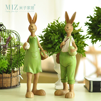 Miz Set Creative Rabbit Family Resin Home Decor Gift for Friend Garden Home Decoration Resin Crafts