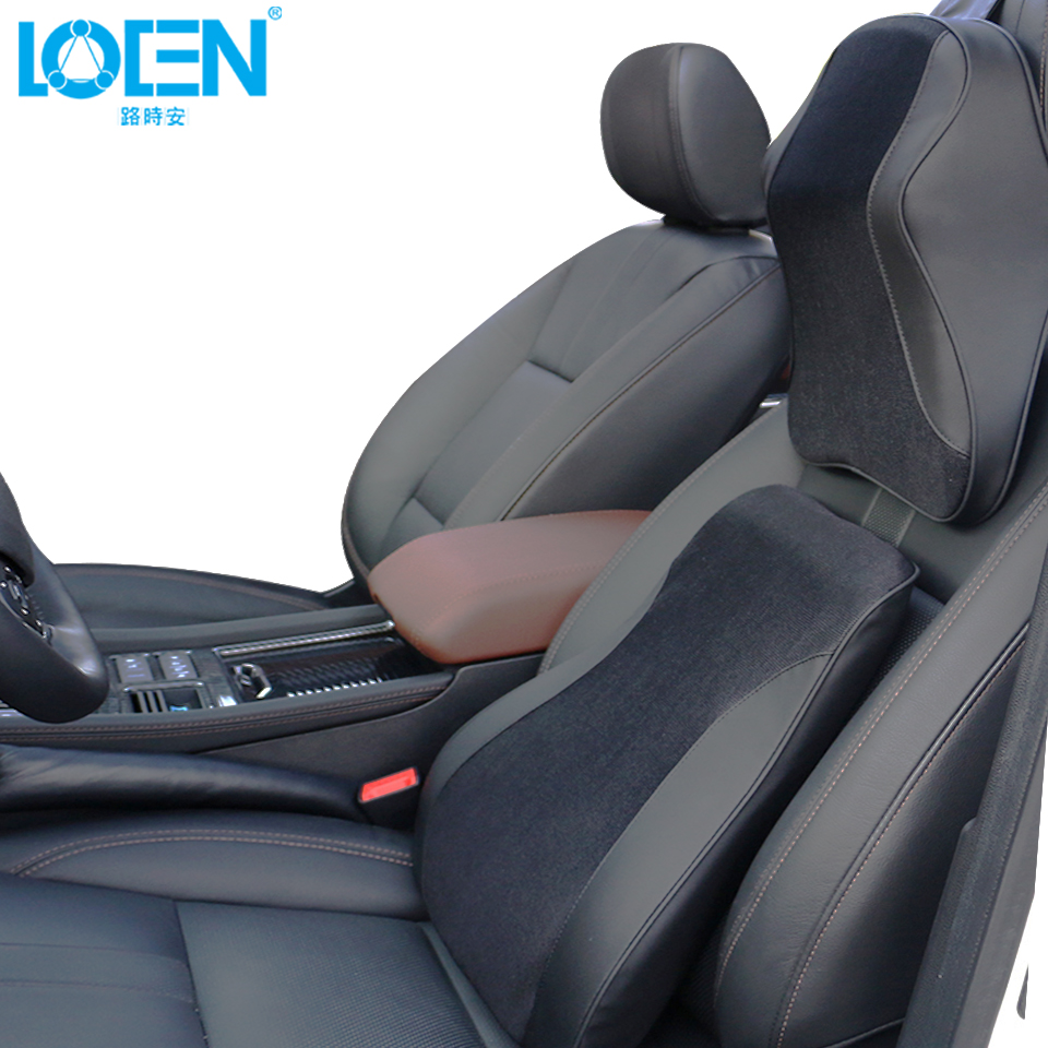 1 Set Car Seat Back Support Neck Pillow Cushion Memory