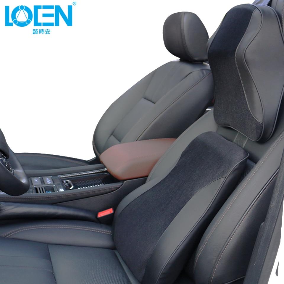 1 set Car Seat Back Support Neck Pillow Cushion Memory Foam Seat Cover Headrest Waist Lumbar Pillow Nap Pads Car Care lotus printed car seat cushion linen pillow cover