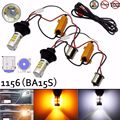 New Super White Bright 1156 P21W S25 BA15S 42-SMD Dual Color Switchback White/Amber DRL Turn Signal Light LED Bulbs