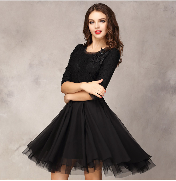 Womens Cocktail Long Sleeve Sexy Lace Knee Length Dresses Boda