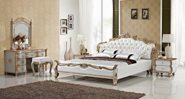 De piel con incrustaciones de diamantes de oro de lujo para dormir cama contemporáneo imperio Francés muebles de dormitorio hecho en China marco de madera