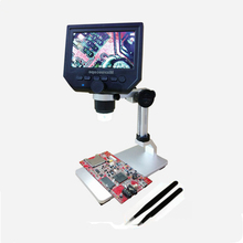 1-600X 3.6MP Portable USB LCD Digital Microscope With Aluminum Alloy Stent 4.3 Inches HD OLED Display for BGA Reballing