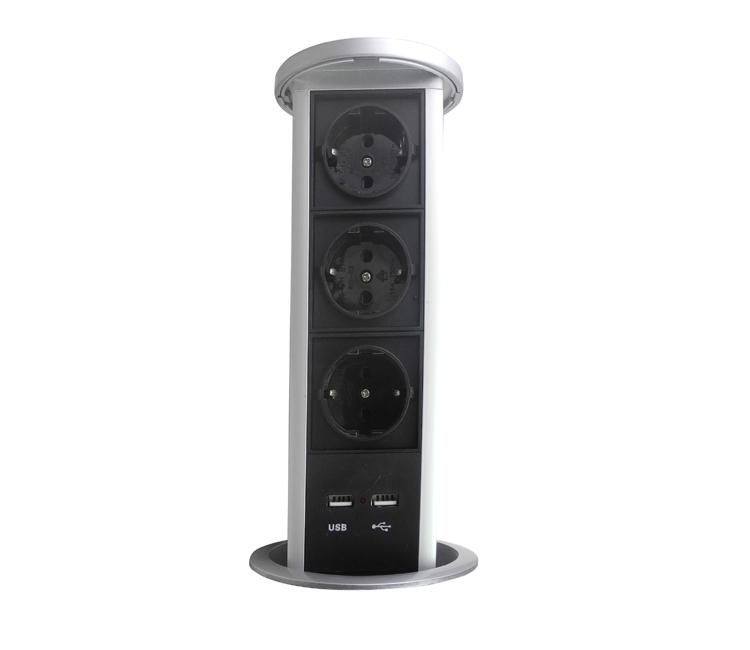 Automatic Raising Type Pop up Power Socket Outlet 3 EU Plug and 2 USB Ports for Office/Kitchen/Conference Room Home Decoration manual flipping socket with 3 eu power and charge usb 50 pcs by dhl suit for indonesia chile italy oman korea netherlands