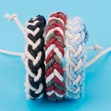 1 шт. этнический браслет ручной работы в стиле бохо, летняя пляжная плетеная веревка из хлопка, плетеные браслеты для женщин и мужчин