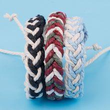 Pulseira étnica artesanal boho de nepal, para o verão, praia, trança, corda de algodão, envoltório, pulseiras de amizade para mulheres e homens, 1 peça