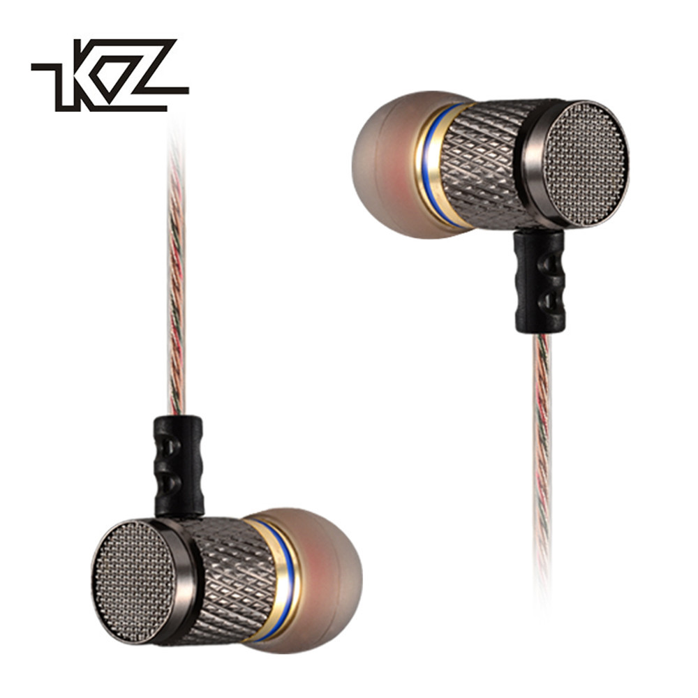 Original KZ ED KZ-ED2 In-Ear Earphone Metal Heavy Super Bass Sound Earbuds With Microphone for Phone iphone kz ed2 special edition gold plated housing earphone with microphone 3 5mm hd hifi in ear monitor bass stereo earbuds for phone