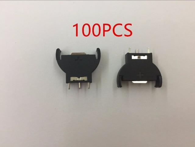 100 pces novo vertical cr2032 2025 meia redonda bateria moeda botão soquete 3 pinos titular caso