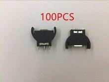 100 pcs 새로운 수직 cr2032 2025 반올림 배터리 코인 버튼 소켓 3 핀 홀더 케이스