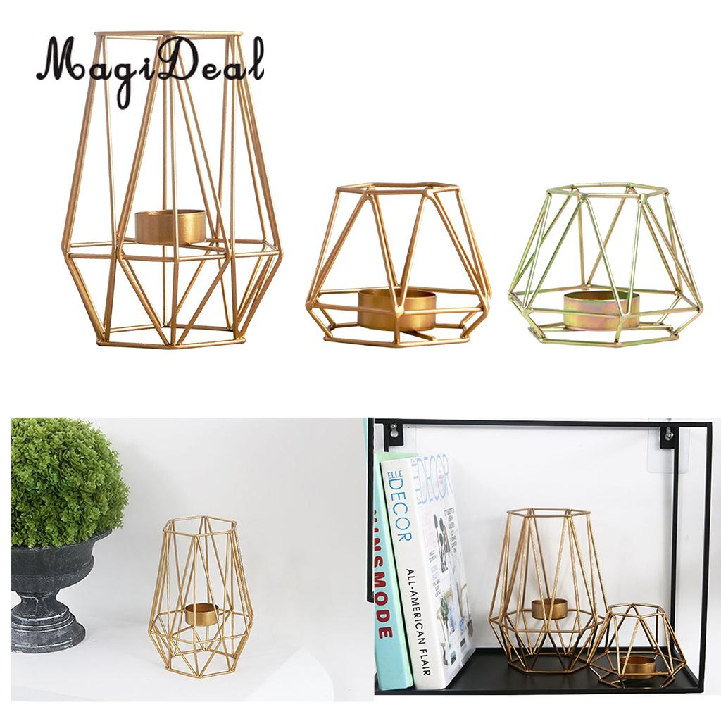 MagiDeal 3D Geometric Candle Holder Iron Frame Tealight Candle Candlestick