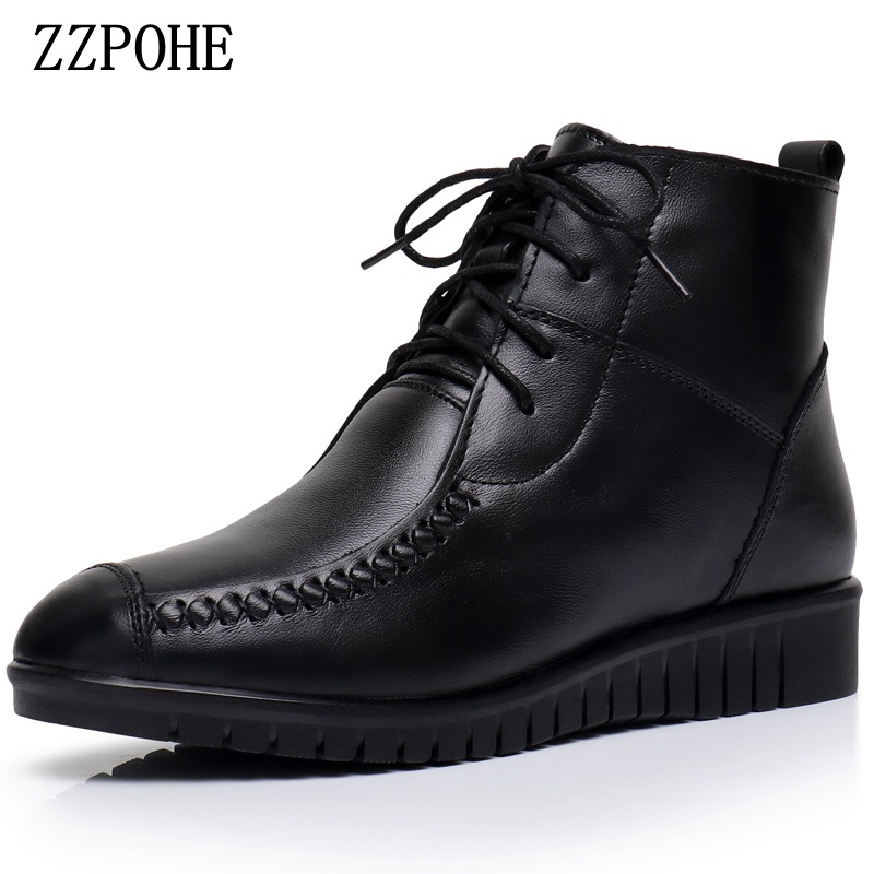 ZZPOHE Winter Shoes Women Flats Ankle Boots Woman Fashion Genuine Leather Wedges Boots Mother Lace-up Non-slip Warm Snow Boots цена и фото