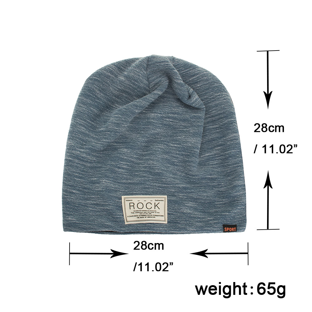 71e1e66ecb5 Winter Autumn Beanies Hat Unisex ROCK Label Warm Soft Knitting Cap Hats  AKIZON