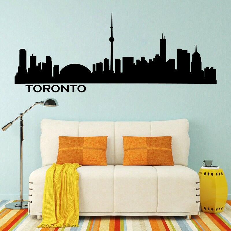 Toronto skyline cityscape silhouette vinyl wall sticker office college dormitory living room home decor label CS06