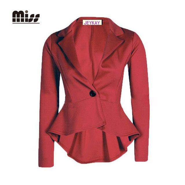 MISS 2016 XXL Women Office Blazer Slim Tuexdo Jacket Business Long Sleeve Single Button For Elegant Ladies Work Suits T5B17