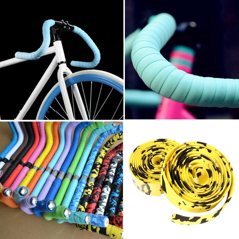 5 Color Cycling MTB Road Bike Bicycle Handlebar Tape Extreme Sport Cork + 2 Bar Plug Bike Soft Rubber Spone Handle Bar Tape Wrap