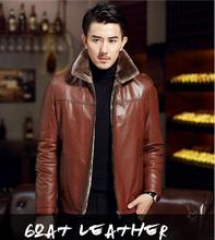 Genuine Leather Men's stand collar slim jacket Sheepskin mens jackets and coats leather winter jacket men