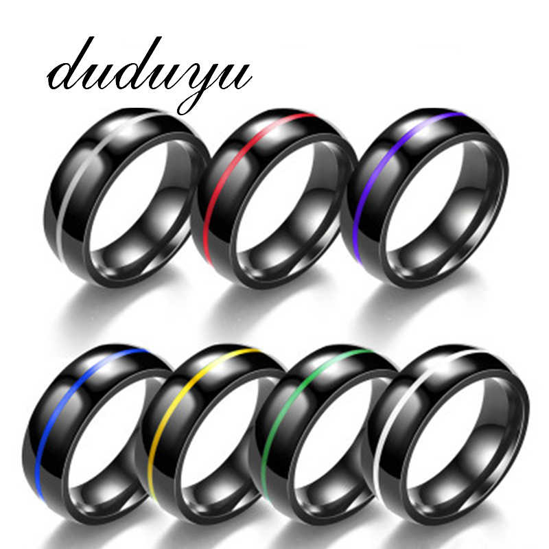 Titanium Fashion Simple Ring Male Female Fashion Stainless Steel Ring 6 Colors Rings 316L Stainless Steel Rings For Women Men