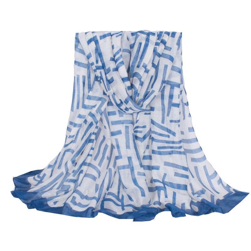 64882cc0254 Mystère Puzzle Labyrinthe Motif Rayé Imprimer Avec Bleu Vert Côté Léger Femmes  Écharpe Châle Pour Charming Lady Filles
