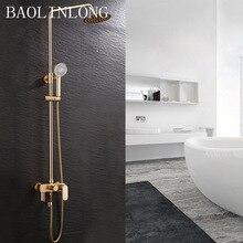 BAOLINLONG Space aluminum + ABS Bathroom shower faucets mixer bathtub tap rainfall shower wall torneira shower head hpb brass wall mounted bathroom shower system faucet rainfall shower faucets with hand showers chrome polished mixer tap hp2211a