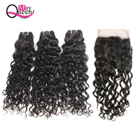 May Queen Hair Malaysian Hair Bundles With Closure Bundles With Closure 4*4 Free Part Natural Color Black