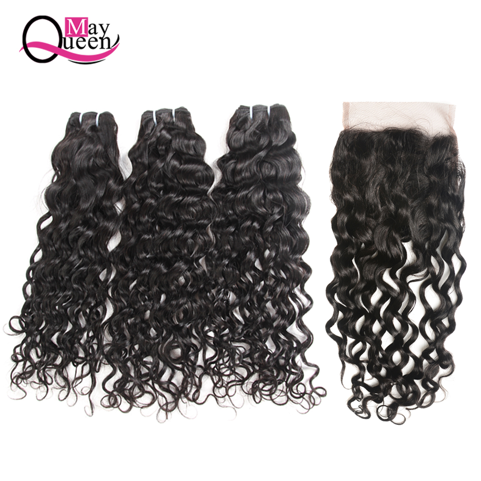 May Queen Hair Malaysian Hair Bundles With Closure Bundles With Closure 4*4 Free Part Natural Color Black
