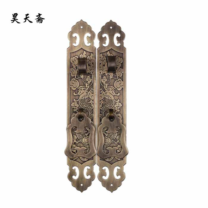 [Haotian vegetarian] Ming and Qing antique Chinese furniture, copper fittings copper antique copper handle HTC-158 [haotian vegetarian] chinese antique ming and qing furniture copper fittings copper door copper handle 18cm black