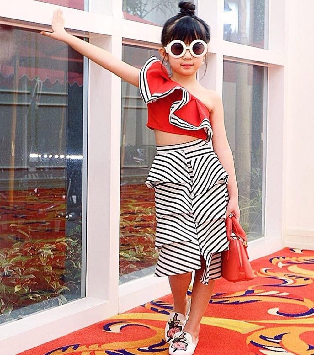 463c192276b2a1 New Arrival Toddler Kids Baby Girls One Shoulder Butterfly Sleeve Tops  Striped Knee-Length Skirts Outfits Clothes Set 2 Pcs