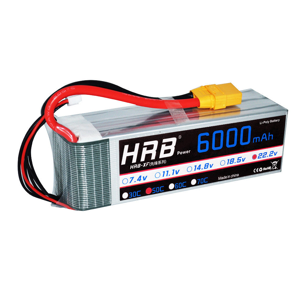2pcs HRB 6S 22.2V 6000mAh RC LiPo Battery 50C 100C for Drone Airplane Helicopter