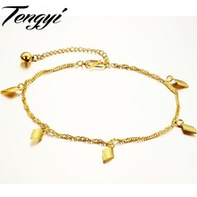 TENGYI Romantic Yellow Gold Color Chain Charm Anklet Chain Foot Jewelry 29cm with Extended Link Top Quality TY716