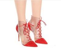 Брендовая дизайнерская женская обувь, модные красные замшевые туфли лодочки из ПВХ, кожаные туфли с острым носком и перекрестной шнуровкой,
