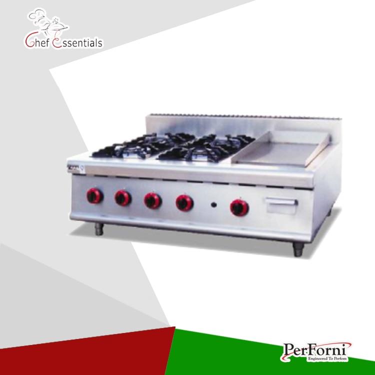 PKJG-GH796.1 4 Burner Gas Range With Griddle for business kitchen gh987 gas range with 4 burner with cabinet