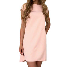 2018 Women Casual Dress Sexy O-neck Short Sleeve Loose Mini Office Dresses Solid Summer Dress Plus Size GV561