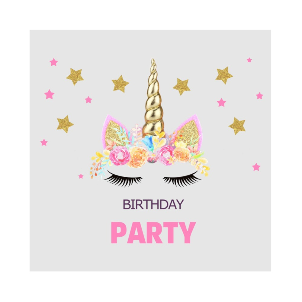 Laeacco Pink Unicorn Birthday Party Star Baby Poster Portrait Photographic Backgrounds Photo Backdrops Photocall Photo Studio in Background from Consumer Electronics