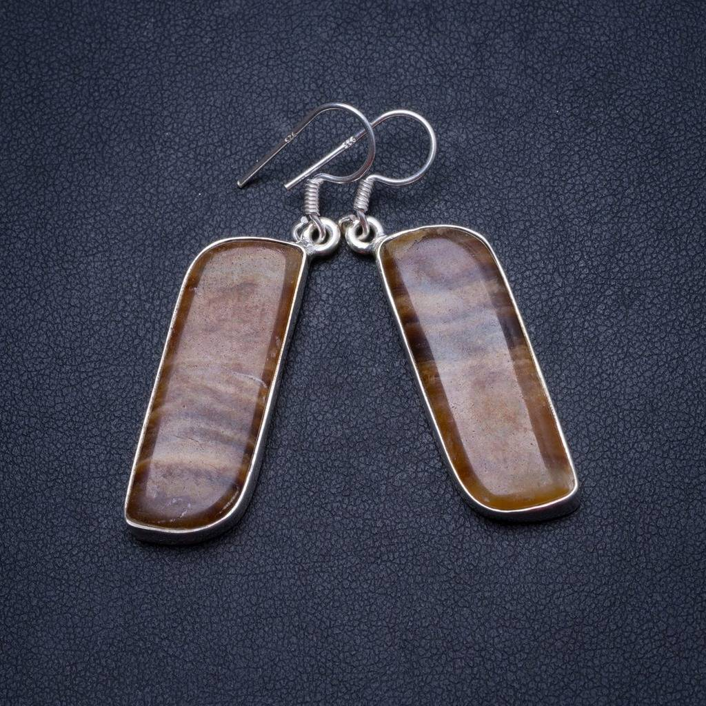 Natural Botswana Agate Handmade Unique 925 Sterling Silver Earrings 2 X3540 and botswana 002