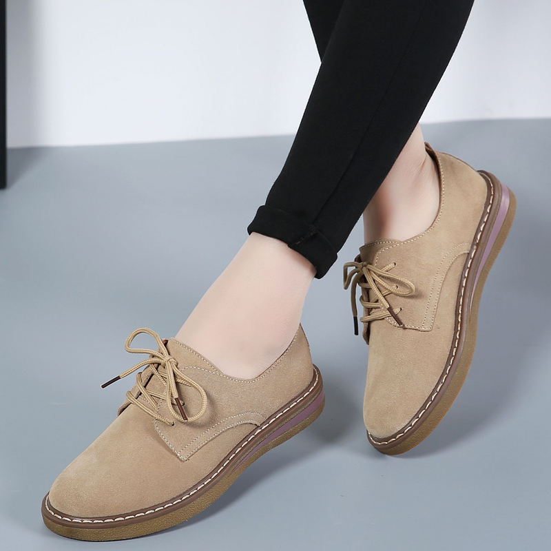 Lucyever 2018 Summer Autumn Women Oxford Shoes Flats   Leather     Suede   Lace Up Boat Shoes Round Toe Lace Up Flats Moccasins
