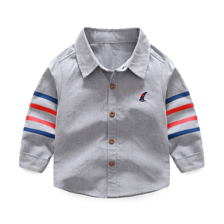 HTB1OR2eXXmWBuNjSspdq6zugXXau - 1-5 years Baby shirts 20018 spring new casual 4 bars turn down collar long sleeved children boys clothes autumn outwear