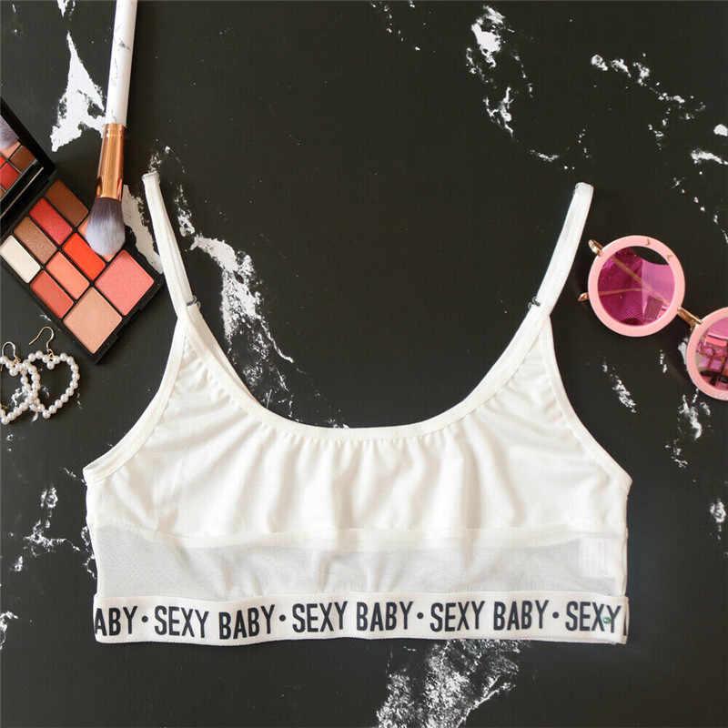 Femmes Sexy noir blanc lettre imprimé Triangle maillot de bain Bikini ensemble Perspective maillots de bain vêtement de plage Femal