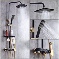 Shower Faucet Brass Black Wall Mounted Bathtub Faucet Rain Shower Head Square Handheld Slide Bar Bathroom Mixer Tap Set 877036R