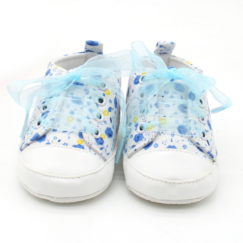Newborn Toddler Girl Baby Crib Shoes Soft Sole Anti-slip Floral Walk Sneaker Shoes