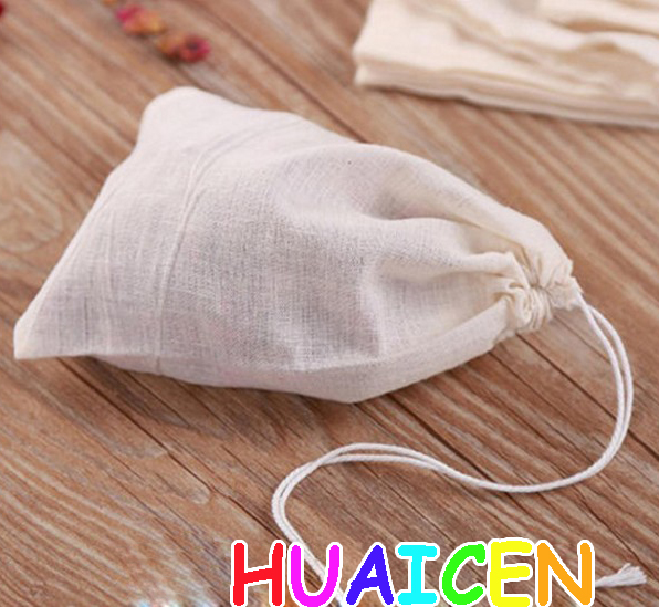 20Pcs/lot Multifunctional Cotton Drawstring Strainer Reusable Filter Bag Kitchen Soup Bag Tea Bags