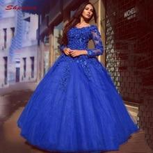 0bcc00b6443fcc6 Королевский синий кружево Бальные платья бальное платье с длинным рукавом  тюль выпускного вечера дебютантка шестнадцать 15 сладк.