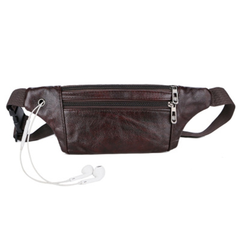New 2018 Genuine Leather Men Belt Pouch Fanny Pack Waist Purse Clutch Bag Cashier